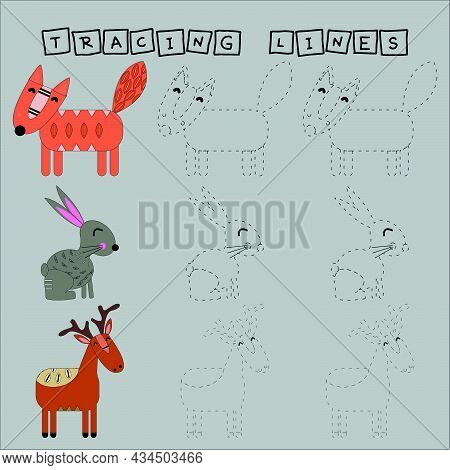 Tracing Lines Game With Funny Animals Deer, Fox And Rabbit. Worksheet For Preschool Kids, Kids Activ