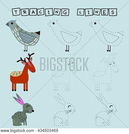 Tracing Lines Game With Funny Animals Deer, Bird And Rabbit. Worksheet For Preschool Kids, Kids Acti