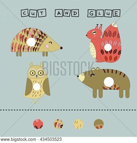 Worksheet Vector Design, The Task Is To Cut And Glue A Piece On Colorful Hedgehog, Squirrel, Bear, O