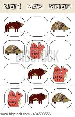 Sudoku For Kids With Funny Forest Animals, Squirrels, Bears, Hedgehogs, Owls . Children's Puzzles. P