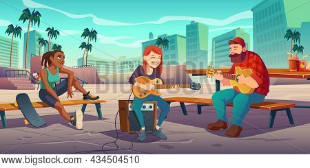 Artists Play Live Music In Urban Skate Park. Singers Man And Woman Playing Guitars Singing Song At P