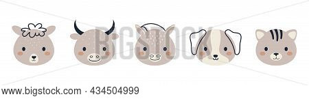 Set Of Cute Domestic Animal Heads In Scandinavian Style. Collection Funny Animals Characters For Kid