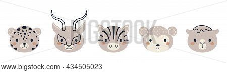 Set Of Cute African Animal Heads In Scandinavian Style. Collection Funny Animals Characters For Kids