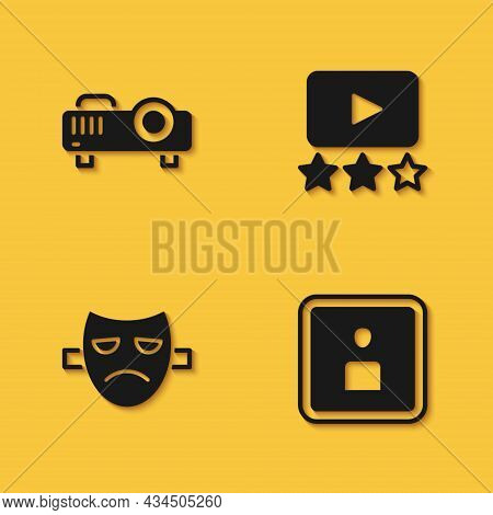 Set Movie, Film, Media Projector, Play Video, Drama Theatrical Mask And Rating Movie Icon With Long