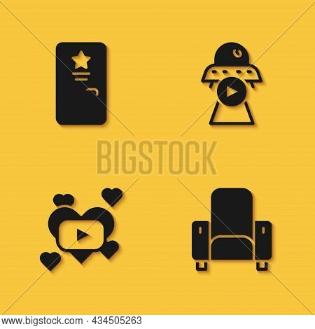 Set Backstage, Cinema Chair, Romantic Movie And Science Fiction Icon With Long Shadow. Vector