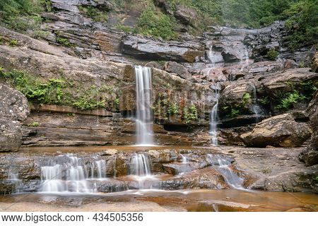 Long Exposure Shot Of The Base Of Wentworth Falls In The Blue Mountains Of Nsw
