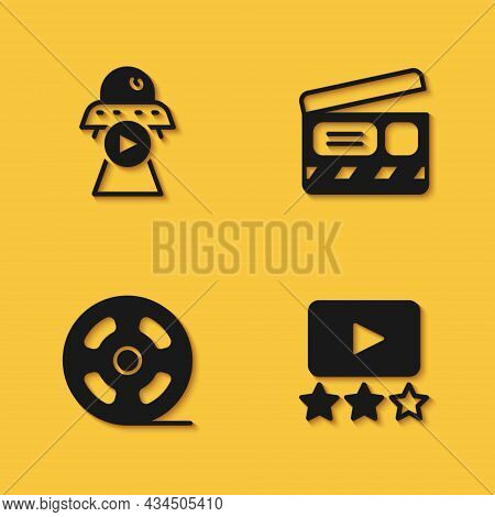 Set Science Fiction, Rating Movie, Film Reel And Movie Clapper Icon With Long Shadow. Vector