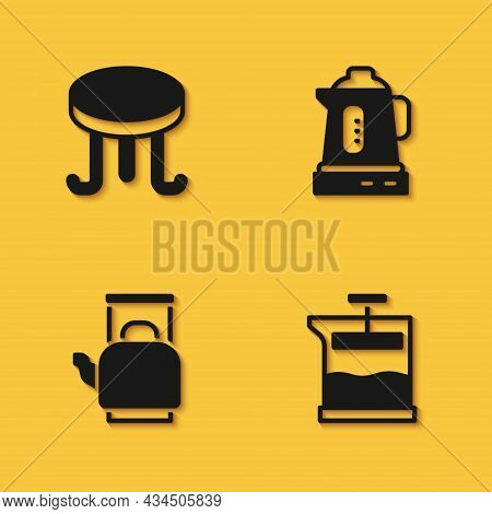 Set Coffee Table, French Press, Kettle With Handle And Electric Kettle Icon With Long Shadow. Vector