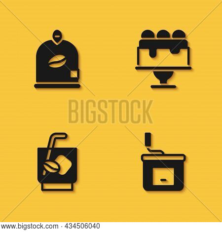 Set Bag Of Coffee Beans, Manual Grinder, Espresso Tonic And Cake Icon With Long Shadow. Vector
