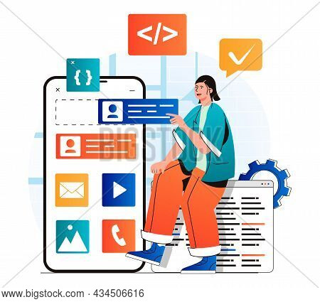 App Development Concept In Modern Flat Design. Developer Places Buttons At Layout Of Application Mob