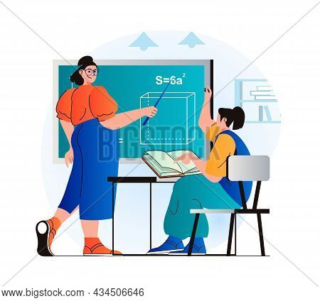 Education Concept In Modern Flat Design. Teacher Explains Lesson At Blackboard, Pupil Pulls Hand Up.