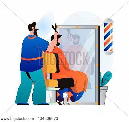 Barbershop Concept In Modern Flat Design. Hairdresser Cutting Client Hair In Male Salon. Man Custome