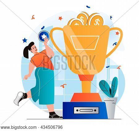 Business Award Concept In Modern Flat Design. Businesswoman Holding Star And Won Huge Gold Cup, Gett
