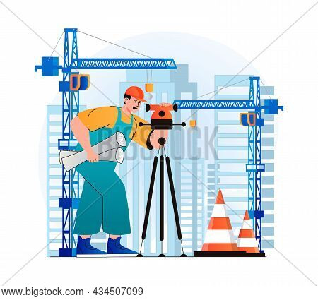 Construction Engineer Concept In Modern Flat Design. Surveyor Makes Measurements And Holding Working