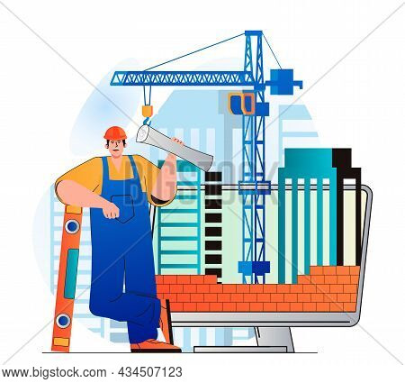 Construction Engineer Concept In Modern Flat Design. Builder Holds Blueprint And Tools. Bricklayer M