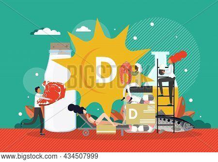 People Sunbathing, Eating Foods High In Vitamin D, Taking Pills, Vector Illustration. Healthy Produc