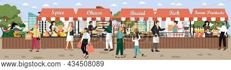 Local Market Food Stalls, Vector Illustration. Farmers Selling Fresh Organic Fruits, Meat, Fish, Dai