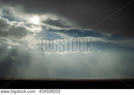 Beautiful Sky With Storm Clouds And Sun Rays Over The Plains   Amazing Sky Over The Horizon, With Da
