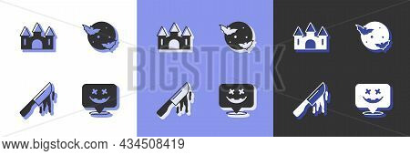 Set Happy Halloween Holiday, Castle, Bloody Knife And Moon And Stars Icon. Vector