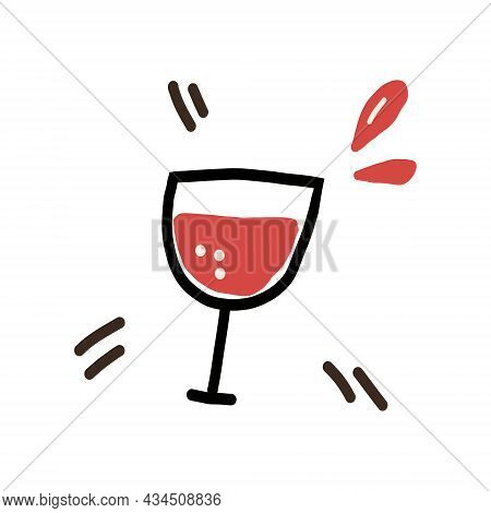 Wine Glass Hand Drawn Doodle. Vector, Minimalism, Print. Drink, Alcohol, Bar.