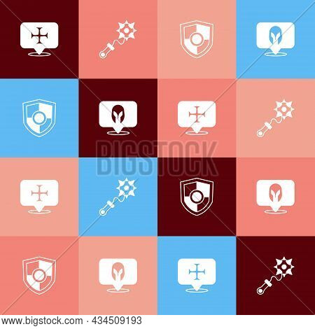 Set Pop Art Crusade, Mace With Spikes, Shield And Medieval Helmet Icon. Vector
