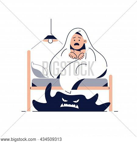 Fear Of Darkness, Kids Nightmares Concept. Frightened Boy Imagining Monsters Under The Bed. Child Hi