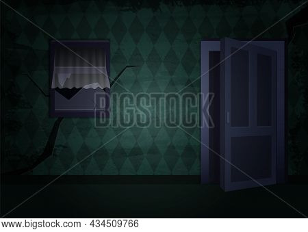 Aged Old Room With Grunge Green Wallpaper With Window And Open Door For Vector Halloween Design