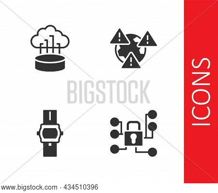 Set Cyber Security, Network Cloud Connection, Wrist Watch And Earth With Exclamation Mark Icon. Vect