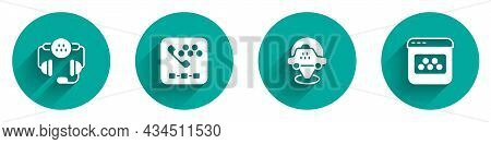 Set Taxi Call Telephone Service, Location Taxi Car And Mobile App Icon With Long Shadow. Vector