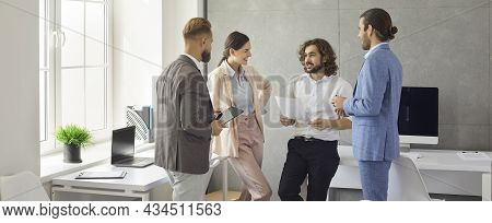 Banner View Of Diverse Businesspeople Brainstorm In Office