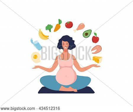 Healthy Eating Concept During Pregnancy. A Pregnant Woman Leads A Healthy Lifestyle And Chooses Heal