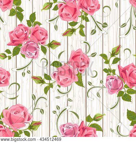 Pattern Of Roses On A Wooden Background.bouquets Of Roses With Lacy Decor On A Wooden Background In