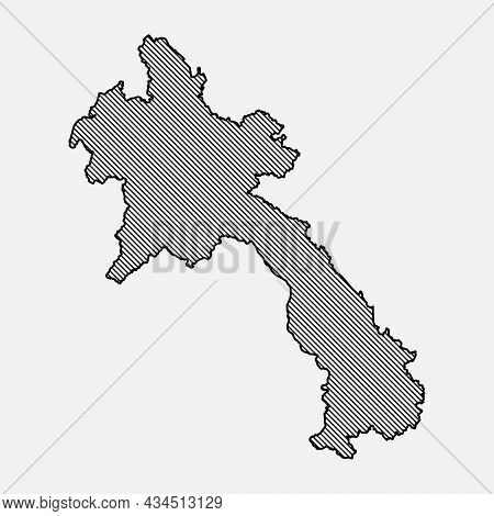 Vector Map Laos, Template Asia Outline Country