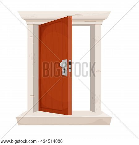 Open Door, Entrance In Cartoon Style Isolated On White Background. Wooden Doorway With Stone Frame.