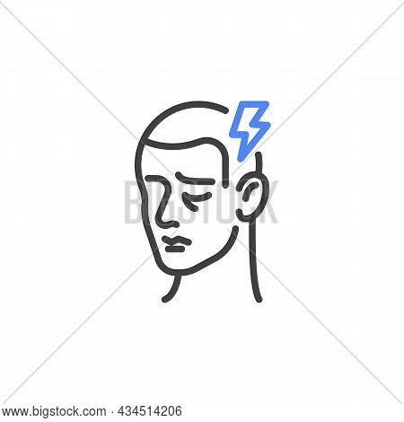 Headache Symptom Line Icon. Linear Style Sign For Mobile Concept And Web Design. Man Having Headache