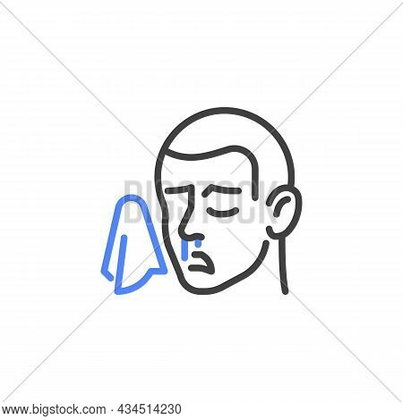 Flu Symptom Line Icon. Linear Style Sign For Mobile Concept And Web Design. Man Having Runny Nose, S