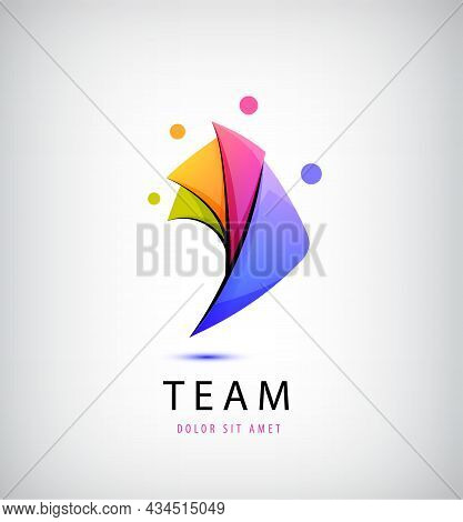 Vector Person Logo, Teamwork. Love, Support, 4 People Together Icon, Concept. Hug And Embrace, Close