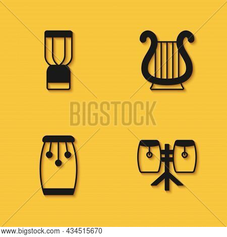 Set African Djembe Drum, Conga Drums, And Ancient Greek Lyre Icon With Long Shadow. Vector