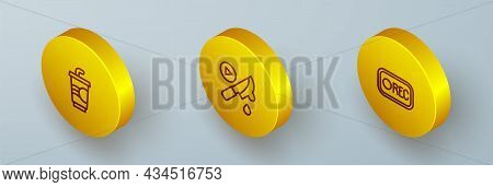 Set Isometric Line Paper Glass With Water, Thriller Movie And Record Button Icon. Vector
