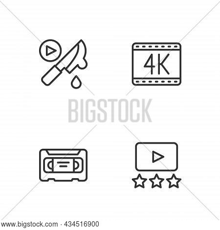 Set Line Rating Movie, Vhs Video Cassette Tape, Thriller And 4k Icon. Vector