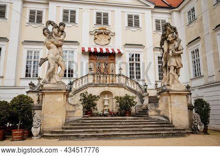 Vranov Nad Dyji, Southern Moravia, Czech Republic, 03 July 2021: Entrance To Baroque And Gothic Medi