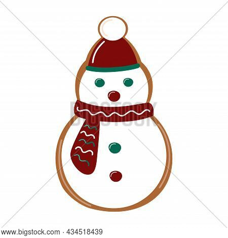 Christmas Snowman Gingerbread. Traditional Baked Cookie. Homemade Biscuit. Vector Illustration.
