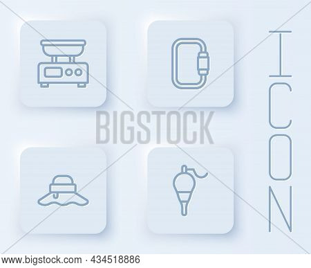 Set Line Electronic Scales, Carabiner, Fisherman Hat And Fishing Float. White Square Button. Vector