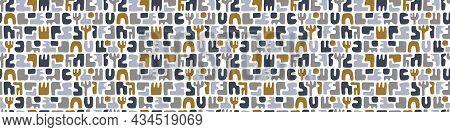 Masculine Geometric Seamless Border Pattern. Classic Retro Geo Shape Design For Digital Masking Tape