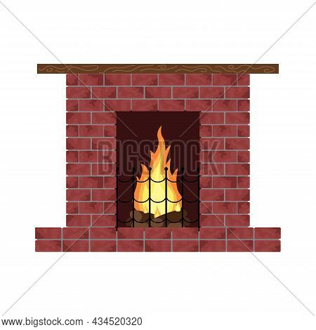 Brick Fireplace With Flame Isolated. Object Element On White Background. Vector Illustration.