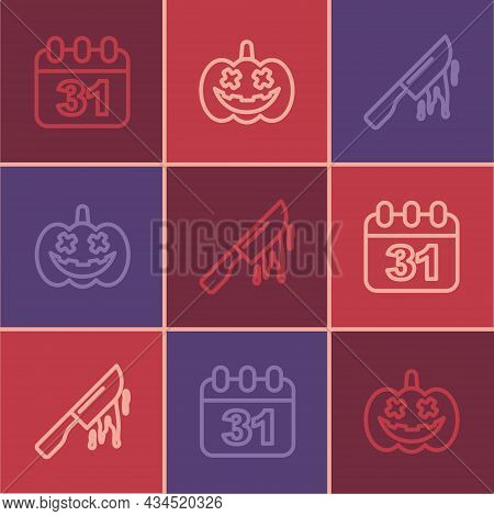 Set Line Halloween Date 31 October, Bloody Knife And Pumpkin Icon. Vector
