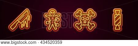 Set Line Bloody Knife, Voodoo Doll, Skull On Crossbones And Candy. Glowing Neon Icon. Vector