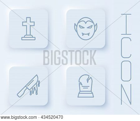 Set Line Tombstone With Cross, Vampire, Bloody Knife And Rip Written. White Square Button. Vector