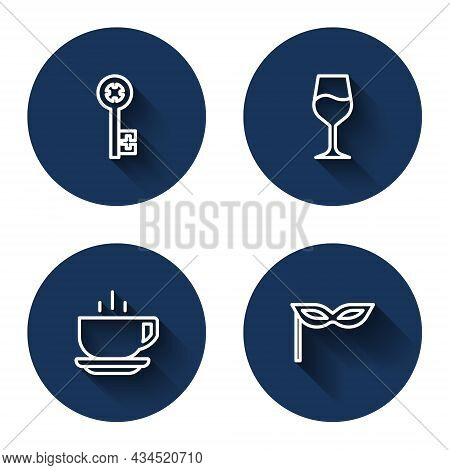 Set Line Old Key, Wine Glass, Coffee Cup And Carnival Mask With Long Shadow. Blue Circle Button. Vec