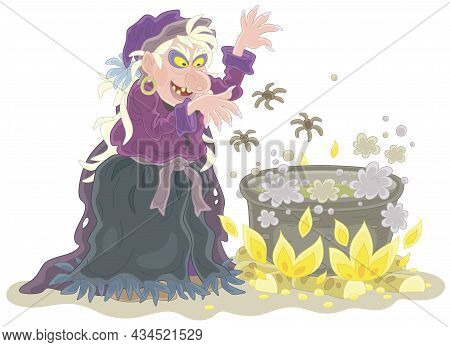 Angry Halloween Witch Whispering Diabolical Spells And Cooking A Black Magic Potion With Spiders In
